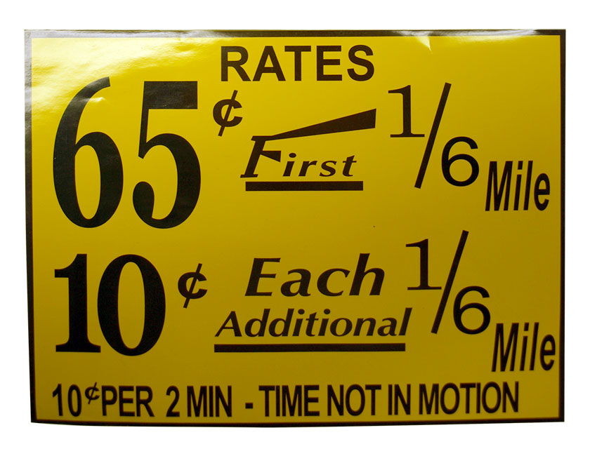 New York Taxi Fare Decal